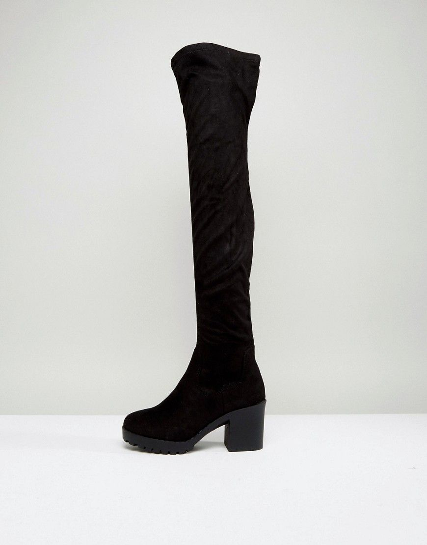 5cbac68ed3b New Look Chunky Track Sole Over the Knee Boot - Black