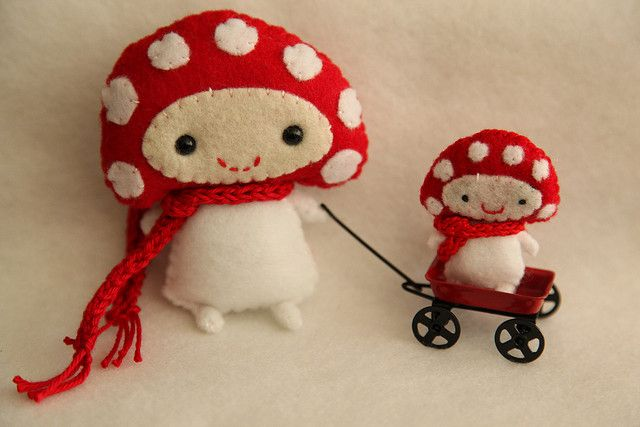 Mushrooms out for a walk :) by Effunia, via Flickr
