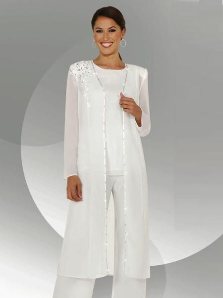 White Chiffon Long Sleeves Mother Of The Bride Pant Suits With Long