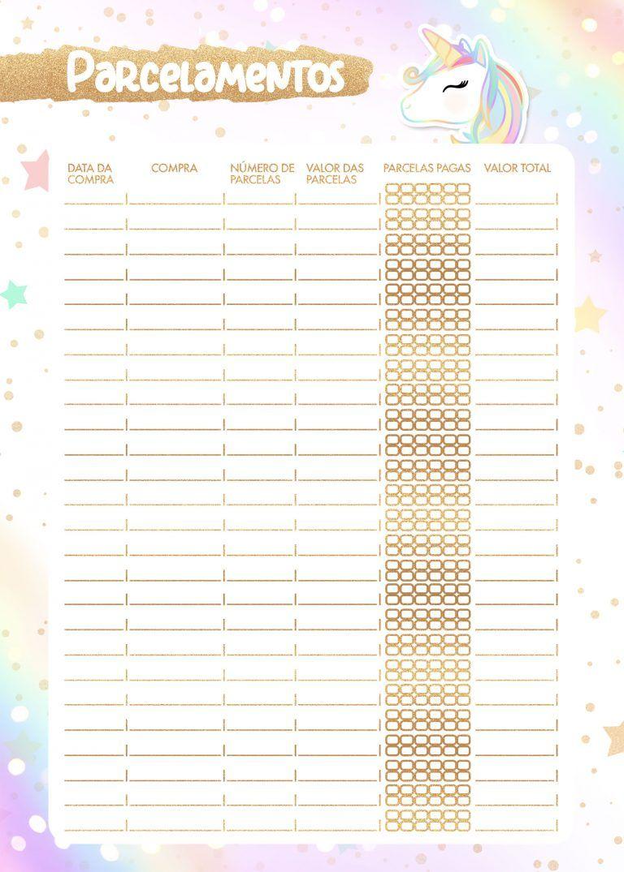 Planner unicornio 2020 parcelamentos folha pautada para for Planner casa gratis