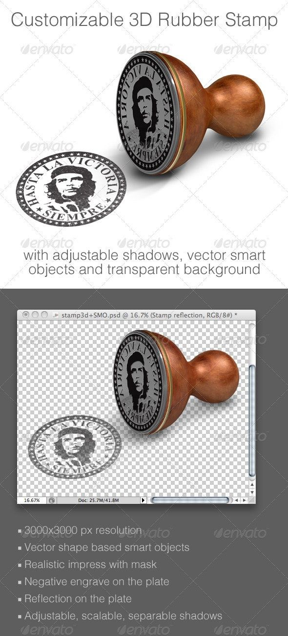Customizable 3D Rubber Stamp Mockup AD Rubber, ad,