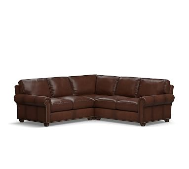 Webster Roll Arm Leather 3 Piece L Shaped Corner Sectional With Bronze Nailheads Down Blend Wrapped Cushions Leather Burnished Walnut 3 Piece Sectional Leather Chaise Sofa Leather