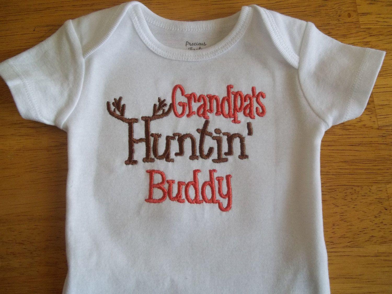 Grandpa Baby Outfit Grandpa Baby Bodysuit Grandpa Baby: Grandpa's Hunting Buddy Baby Boy Hunting Onesie By