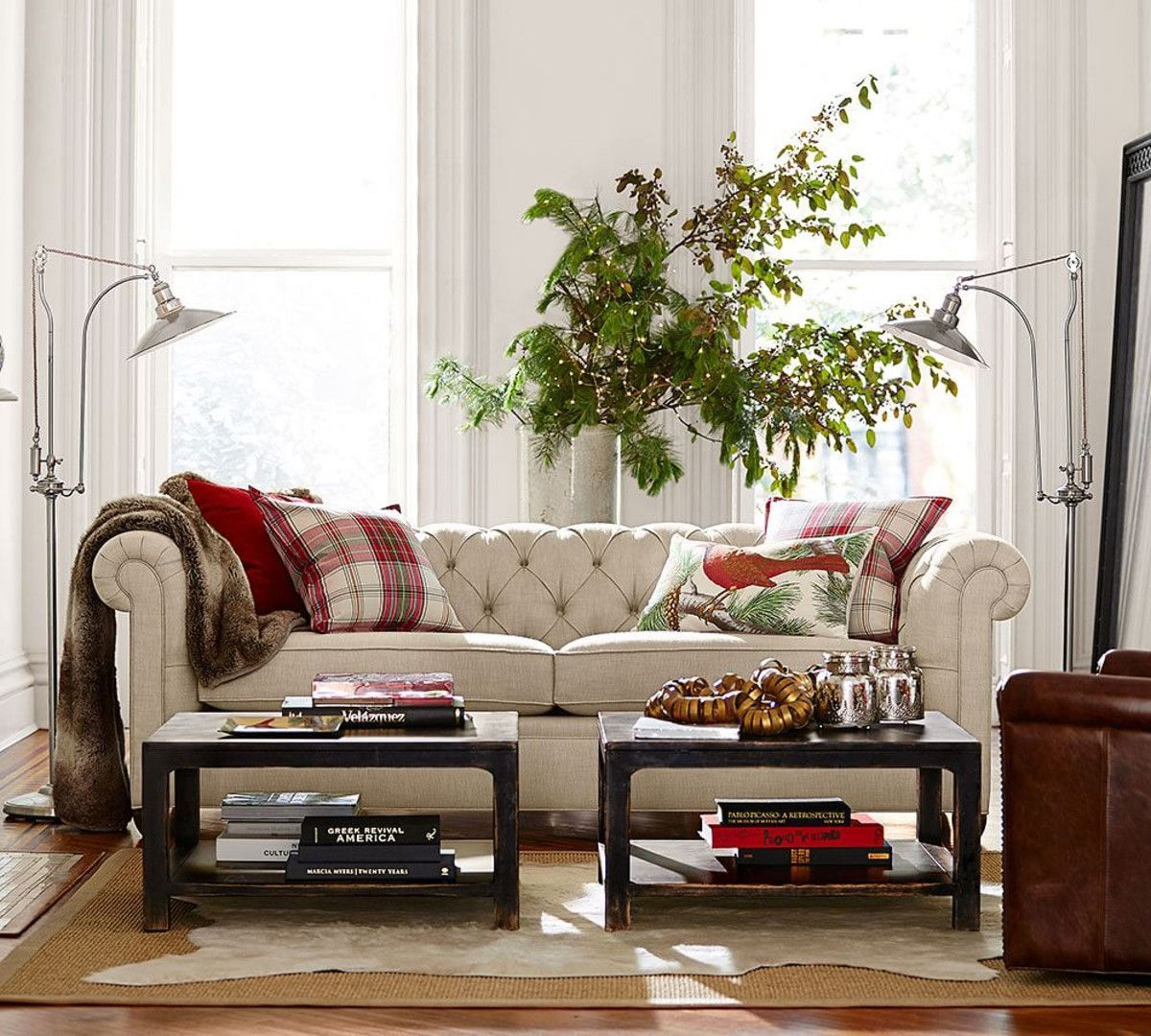 living room pottery barn%0A Room    Chesterfield Upholstered Sofa  Pottery Barn CouchHome Decorations Sitting