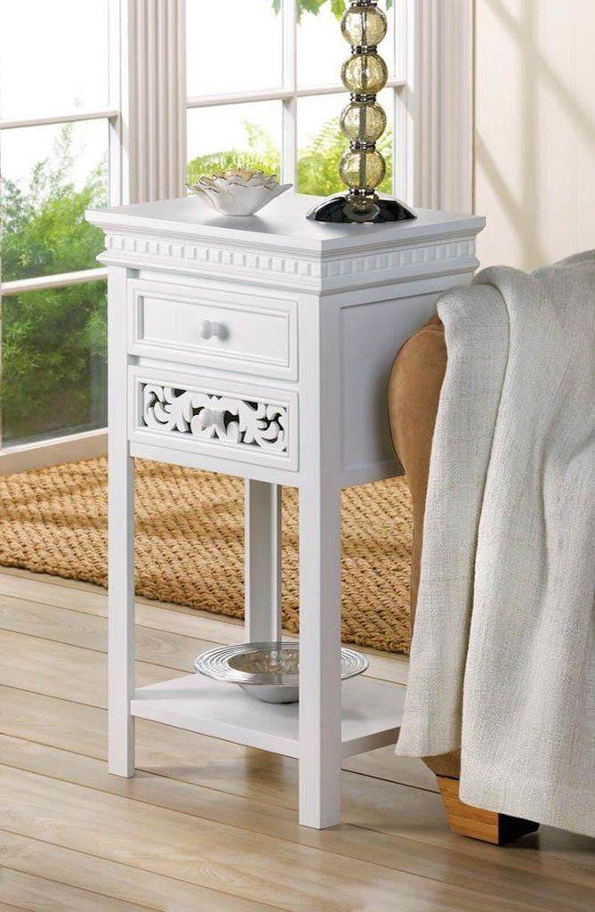 shabby white chic nightstand table 2 drawers wood shabby white rh pinterest com