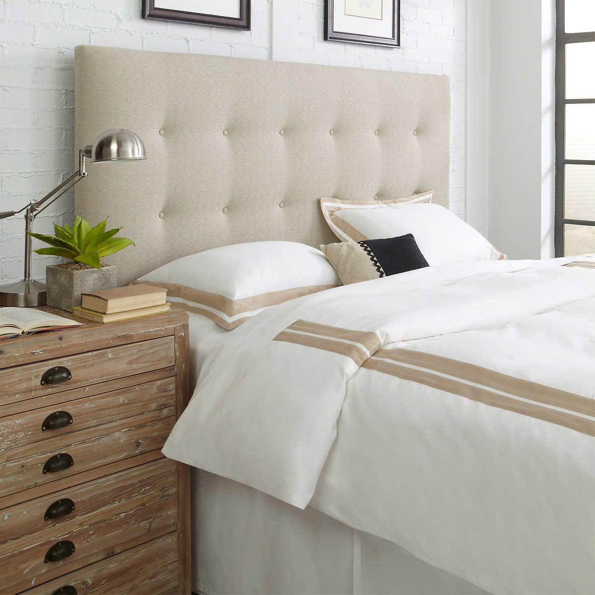 beige 1 Upholstered headboard king, Upholstered