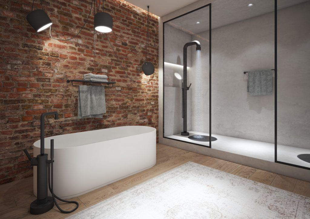 Badkamer Douche Kranen : Badkamerinspirtie! badkamer in new york met vrijstaande badvuler en