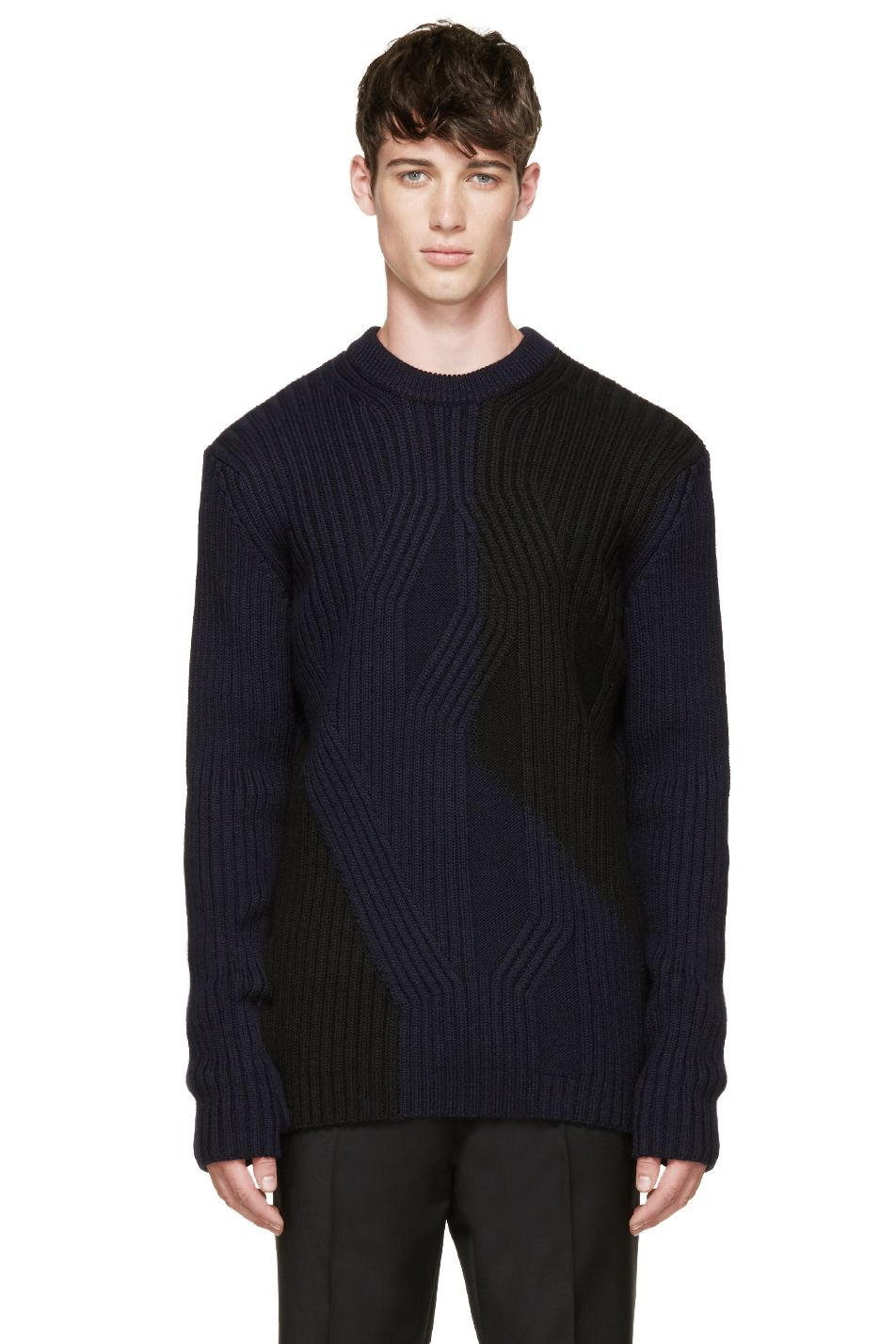 Long sleeve irregular cable knit sweater in black and dark navy ...