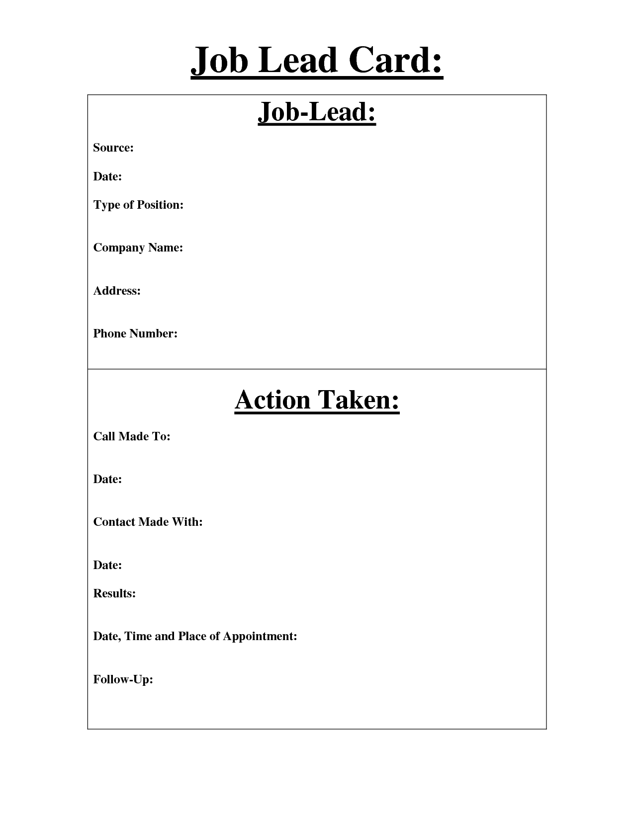 job lead cards - Google Search | teacher stuff | Pinterest ...