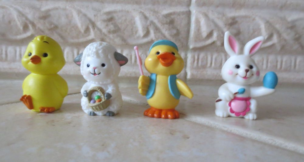 Vintage Russ Berrie 4 Mini Easter Decorations Bunny Rabbit Sheep Duck Chick