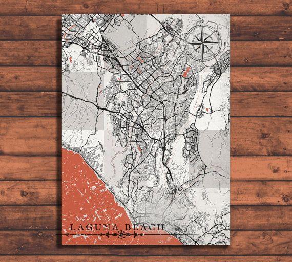 LAGUNA BEACH Canvas Print CA California Vintage map Laguna Beach