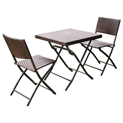 giantex 3 pc outdoor folding table chair furniture set rattan wicker rh pinterest at