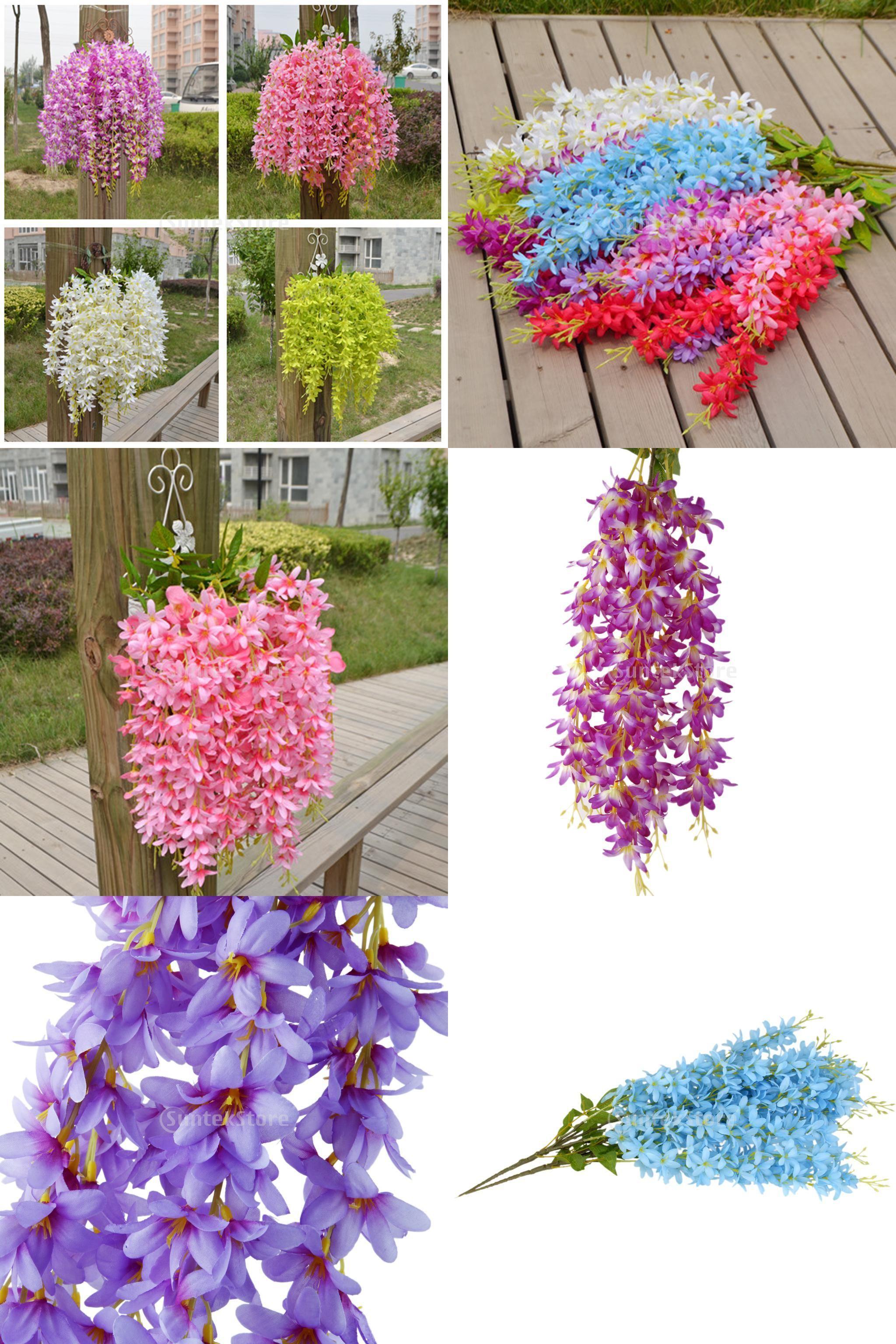 Visit To Buy 2pcs Bunch Silk Hanging Plants Artificial Lilac Flower Garland Decor Garden Diy Decor 6 Colors Ad Hanging Plants Garland Decor Diy Garden Decor