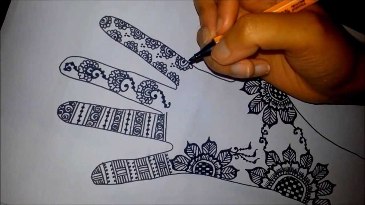 Arabic floral henna , easy mehndi design on paper , how to