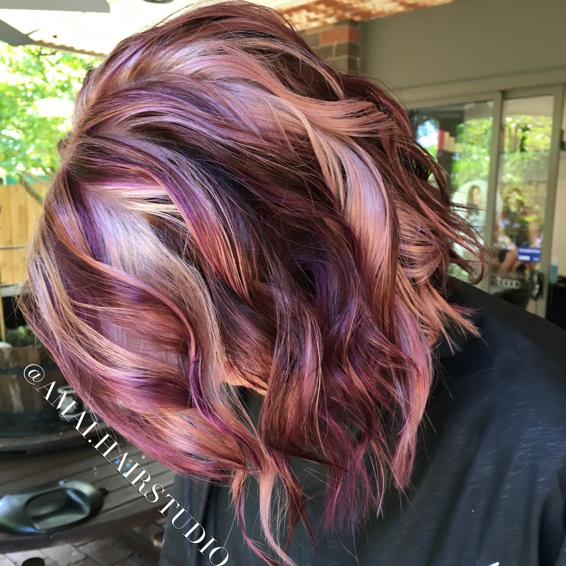 Pinwheel hair with beach waves violet pinwheel amai hair studio