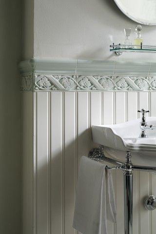 Love The Tile On Top Of The Beadboard Shabby Chic Bathroom