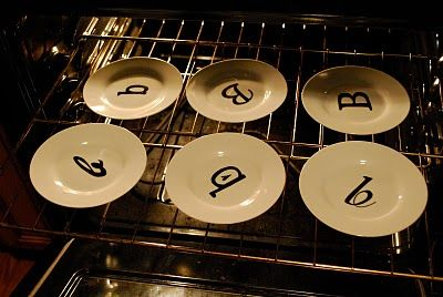 Buy plates from Dollar Store Use a Porcelain 150 Pen which is permanent and safe once baked for 30 mins in a conventional oven.