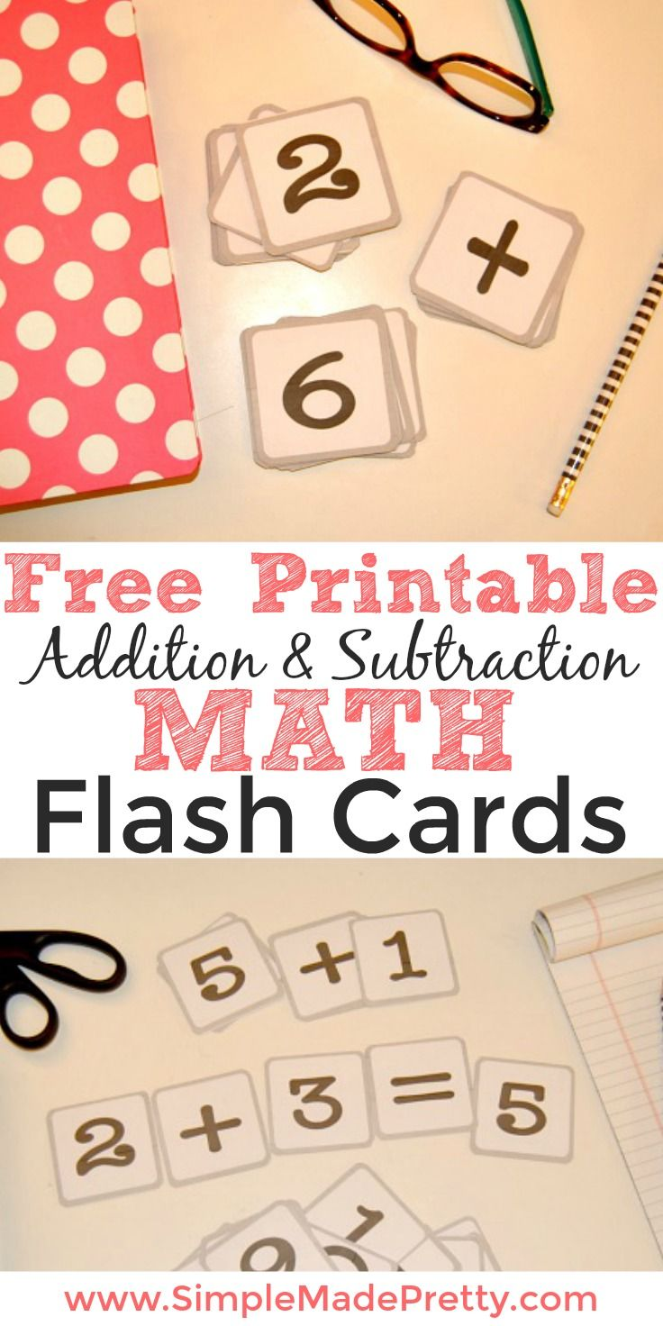 free printable addition and subtraction math flash cards homeschool preschool math flash. Black Bedroom Furniture Sets. Home Design Ideas