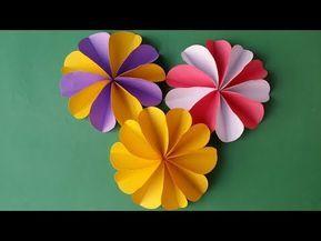Origami Blume Falten. DIY Blumen Basteln Mit Papier. Bastelideen Blüte.  Geschenk Basteln Mit Kindern   YouTube