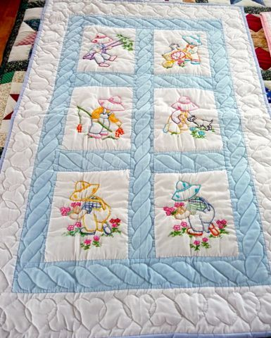 Handmade Amish Baby Quilt - embroidered Overall Sam pattern ... : childrens quilt ideas - Adamdwight.com