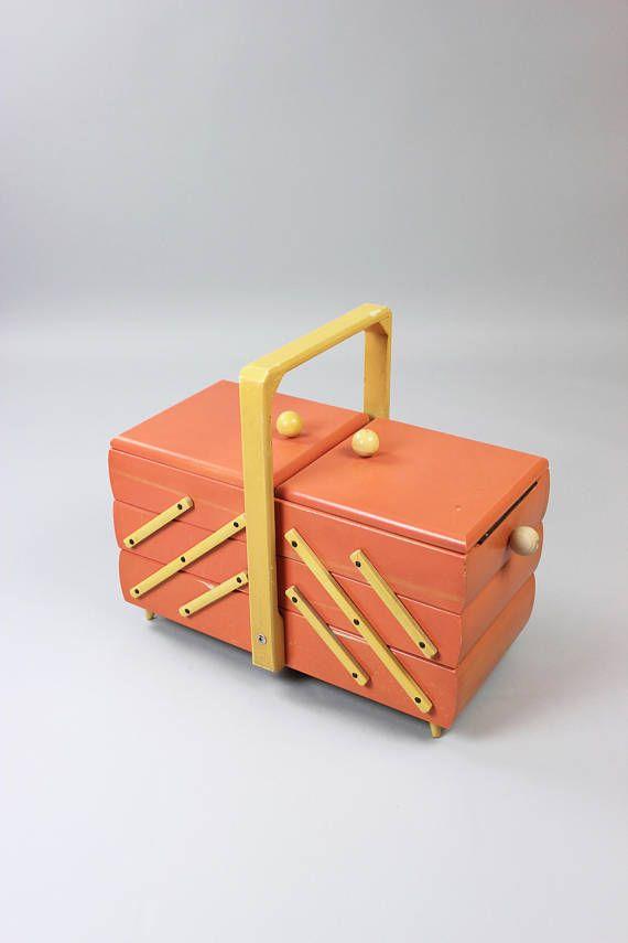 Vintage sewing box, sewing box, wooden accordion box-folding, wood ...