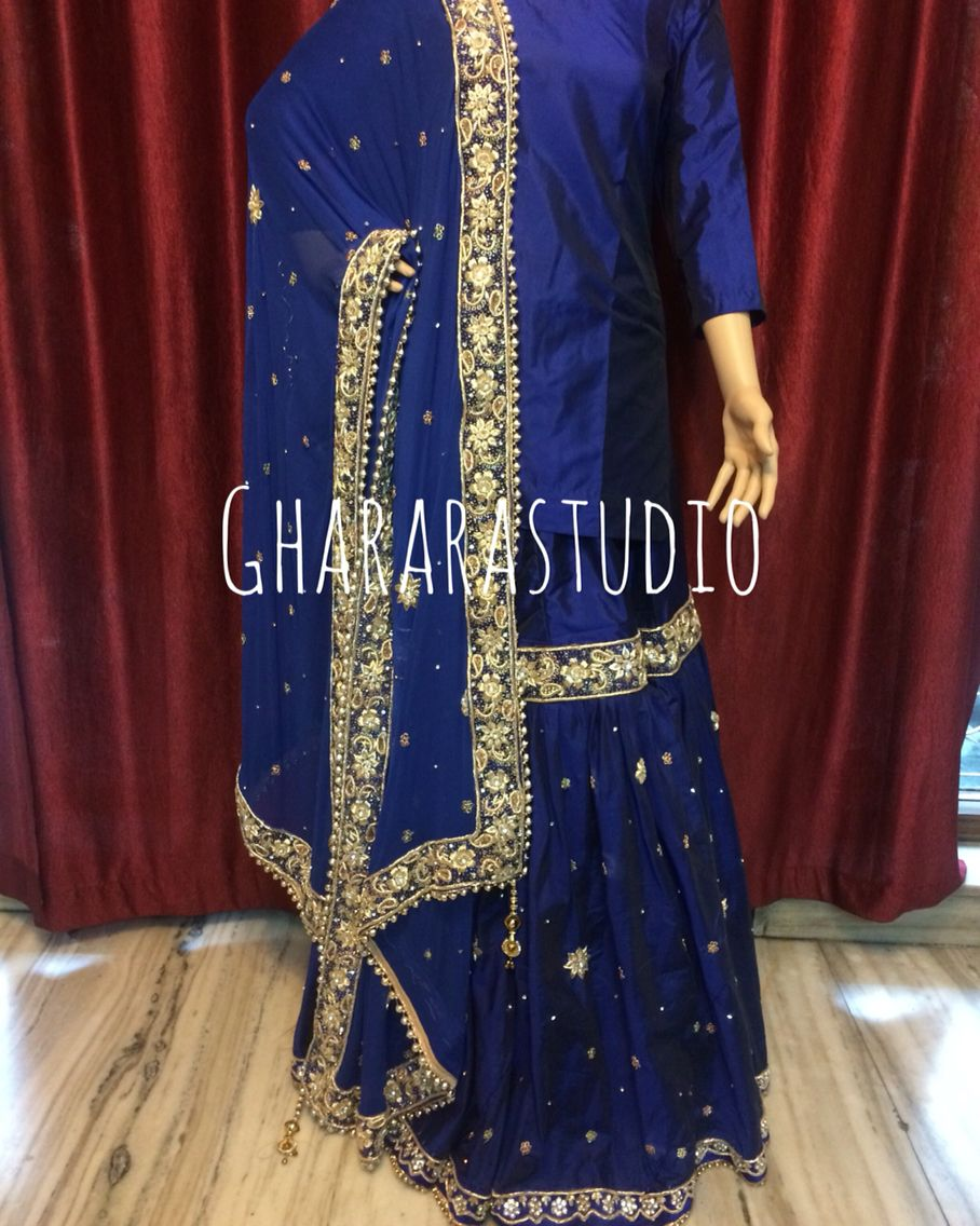 29be5d7874 Silk Gharara in Royal blue colour with heavy zardozi work all over. DELIVER  WORLDWIDE.