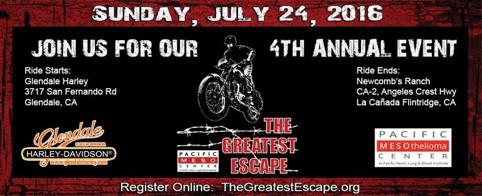 Glendale Ca July 24 2016 The Greatest Escape Motorcycle Ride 100 Of Proceeds Will Be Applied Directly Motorcycle Events Charity Events Riding Motorcycle