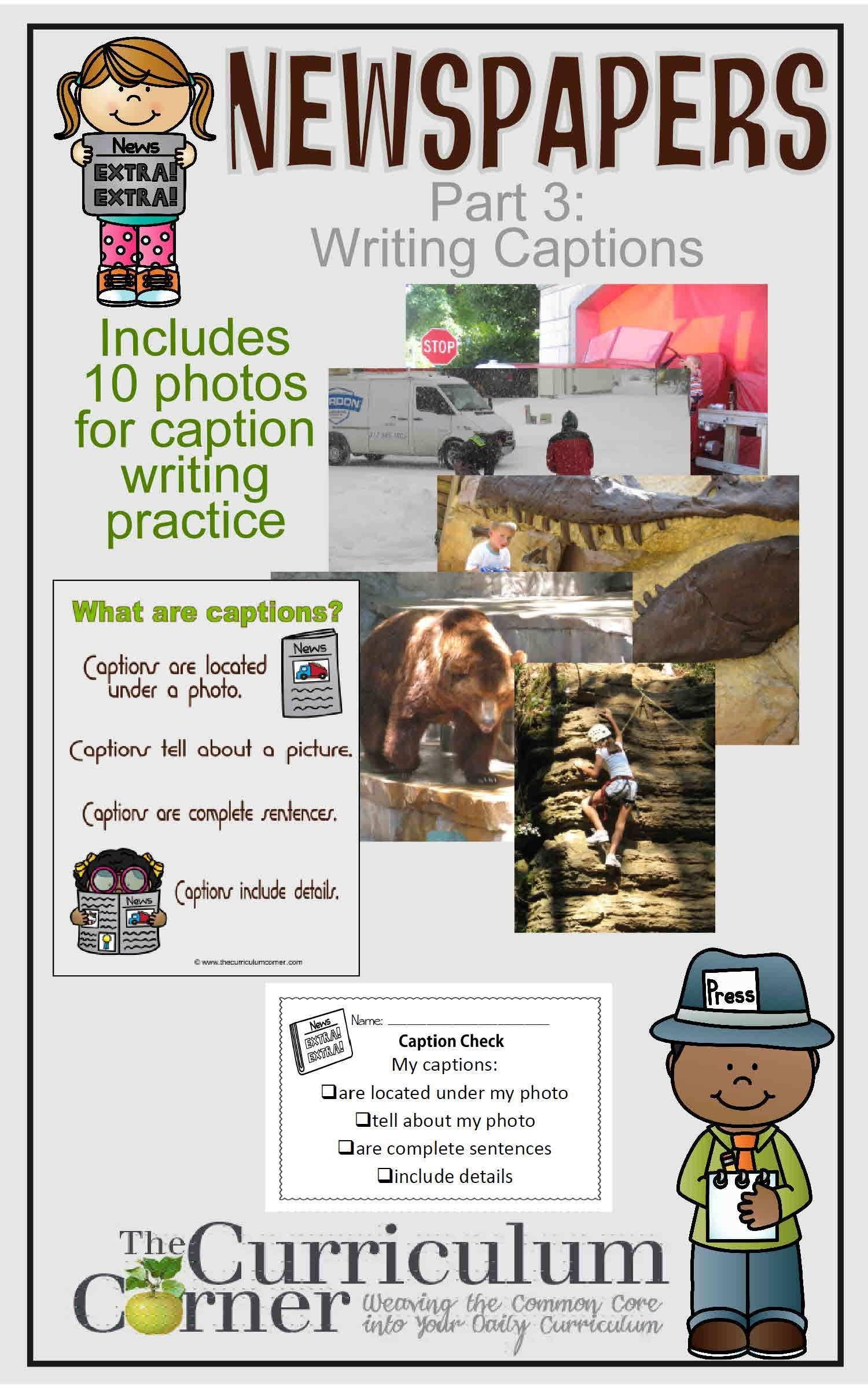 Writing Captions Writing Worksheets Teaching Writing Writing Workshop [ 2400 x 1500 Pixel ]