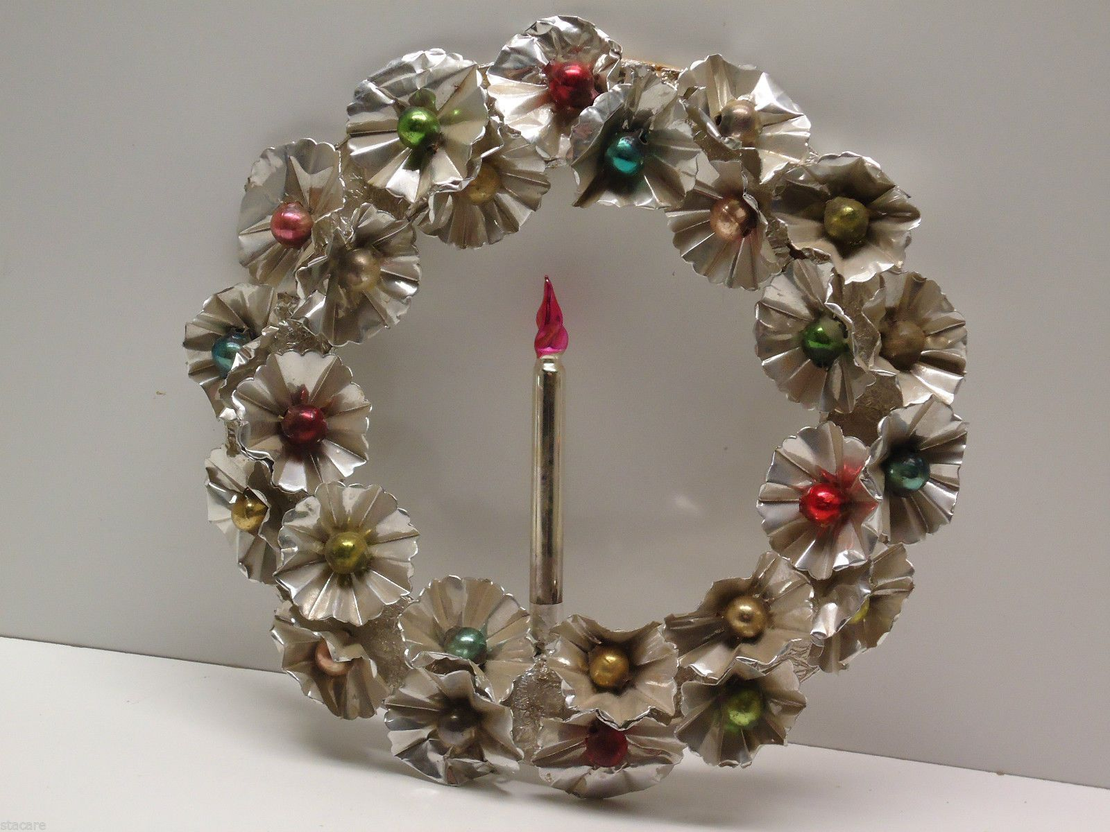 Vintage Christmas Aluminum Tin Wreath with Candle