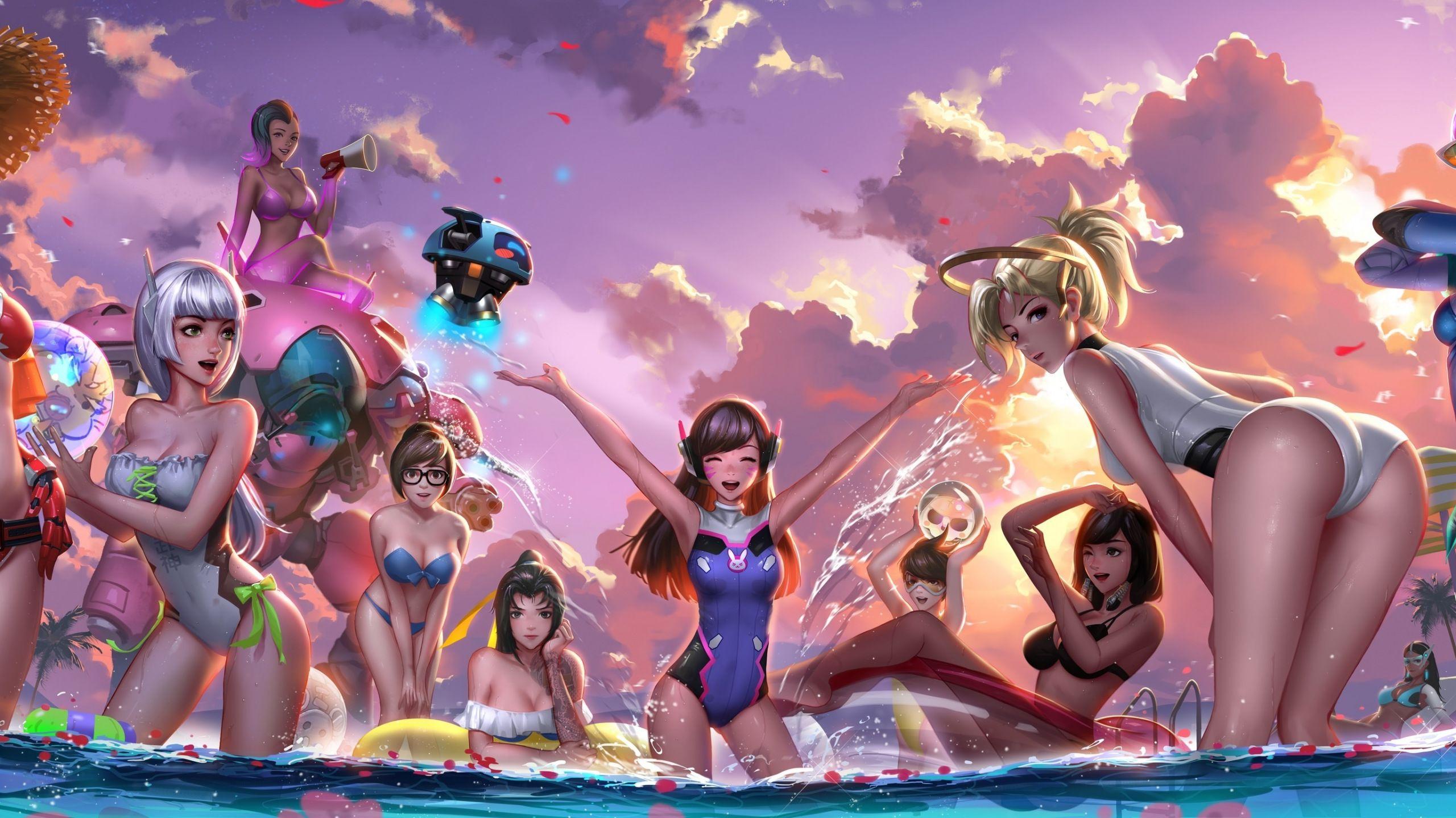 Overwatch Dual Screen Wallpaper: Download 2560x1440 Wallpaper Overwatch, Girls, D.VA, Mercy
