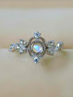 antique art deco moonstone silver engagement ring for her from jewelsincom - Moonstone Wedding Rings