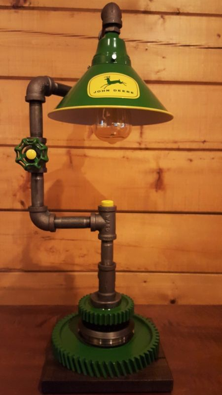 Delightful Custom John Deere Themed Lamp   Artistic Industrial John Deere Lamp
