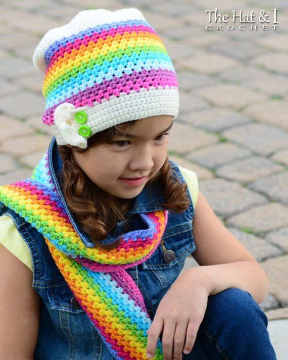 Crochet Scarf   Hat PATTERN - Crayon Box - crochet pattern for scarf +  slouchy beanie hat (Toddler C 196cc7634d3