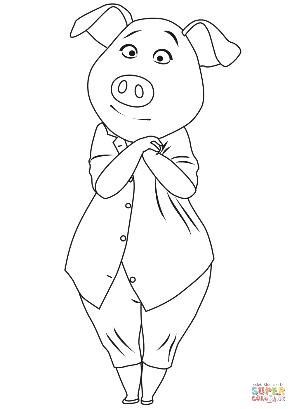 pig-rosita-from-sing-coloring-page.png 1 000×1 400 пикс | Год свиньи ...