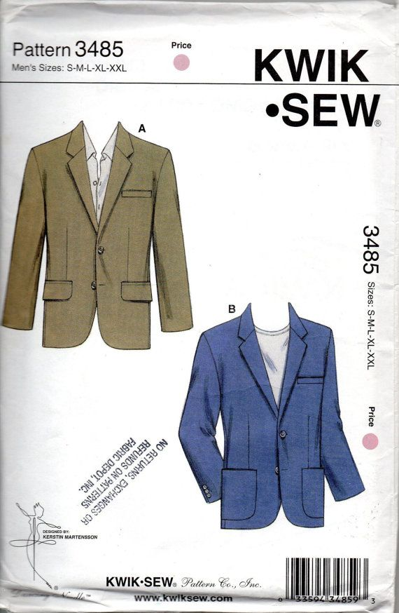 Kwik Sew 3485 Mens Blazer Pattern Mans Sport Coat Jacket Sewing ...