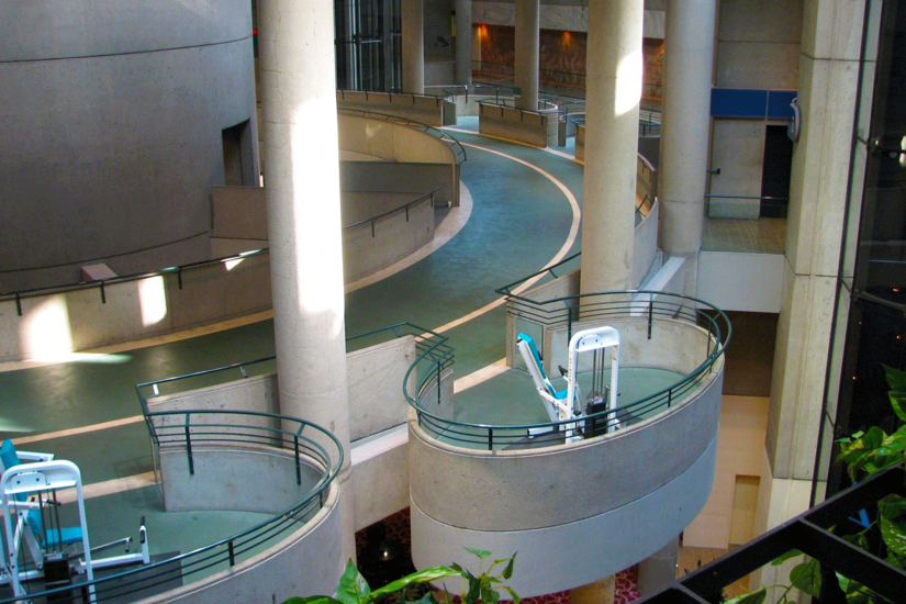 Running Track And Fitness Machines In The Atrium Of John