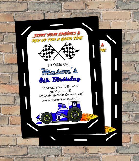 Racing Invitation, Racing Birthday Invitation, Race Car Invitation