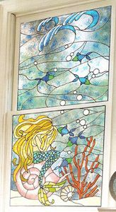 Weeping Mermaid Faux Stained Glass Window Film Home