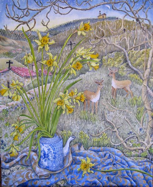 Early spring with two deer in the garden