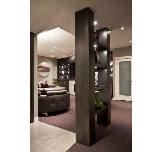 Modern Basement: Modern Basement Support Pole Coverup