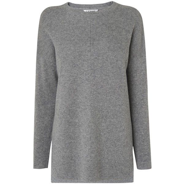 L.K. Bennett Maeve Tuck Stitch Jumper , Grey Melange (€175) ❤ liked on Polyvore featuring tops, sweaters, grey melange, jumpers sweaters, long sleeve sweater, long sleeve jumper, textured sweater and gray top