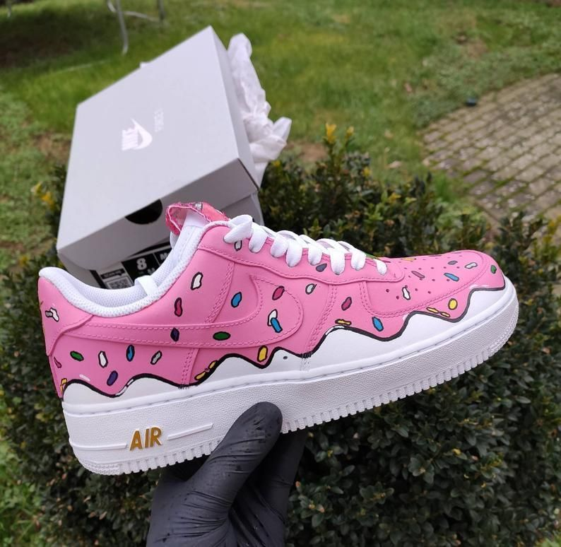 Custom Air Force One 1 Original Custom Shoes Simpsons Donut Style Pink Lowtop Nike Af1 Hand P In 2020 Personalized Shoes Nike Air Shoes White Nike Shoes