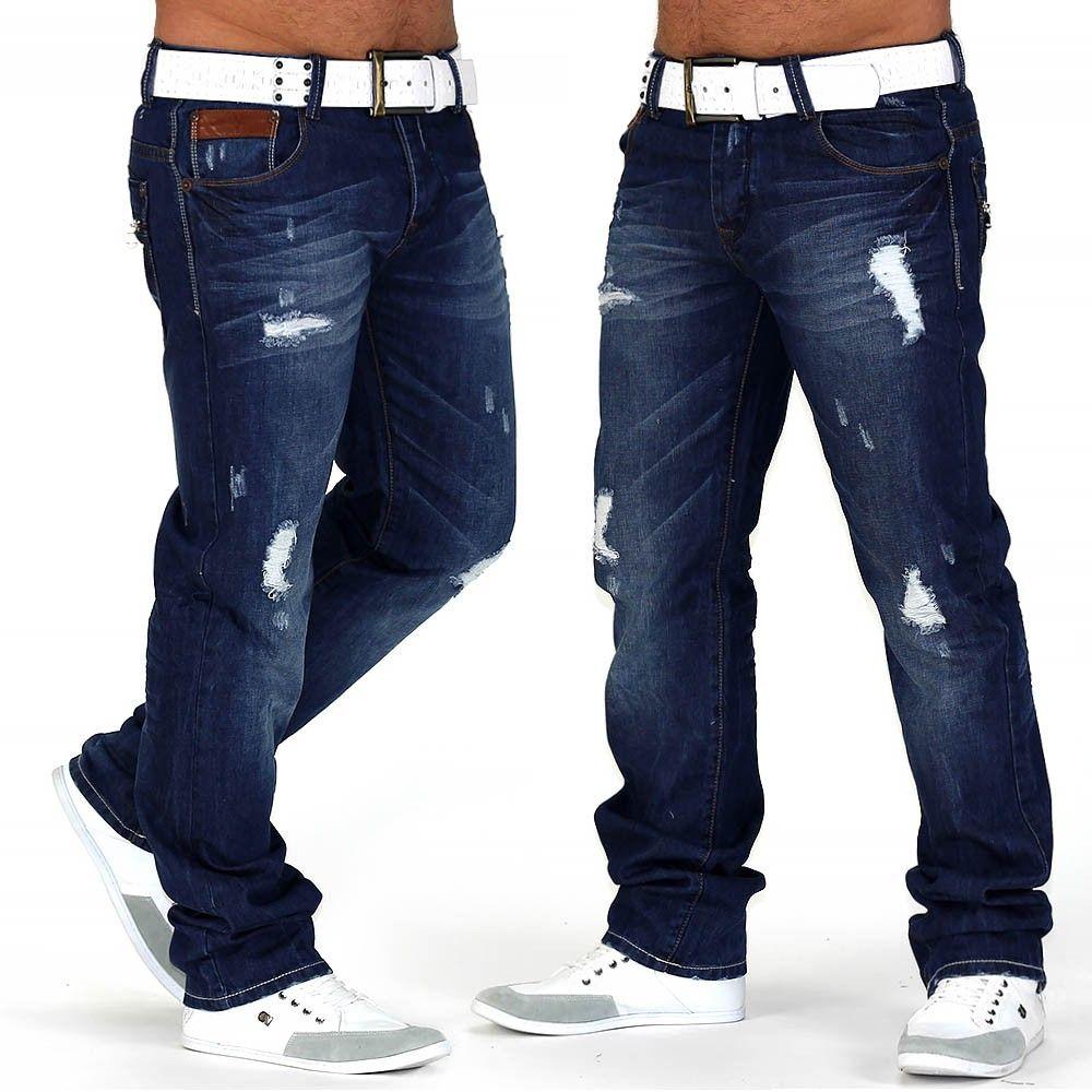Herren Jeans Hose Designer Used Straight Clubwear