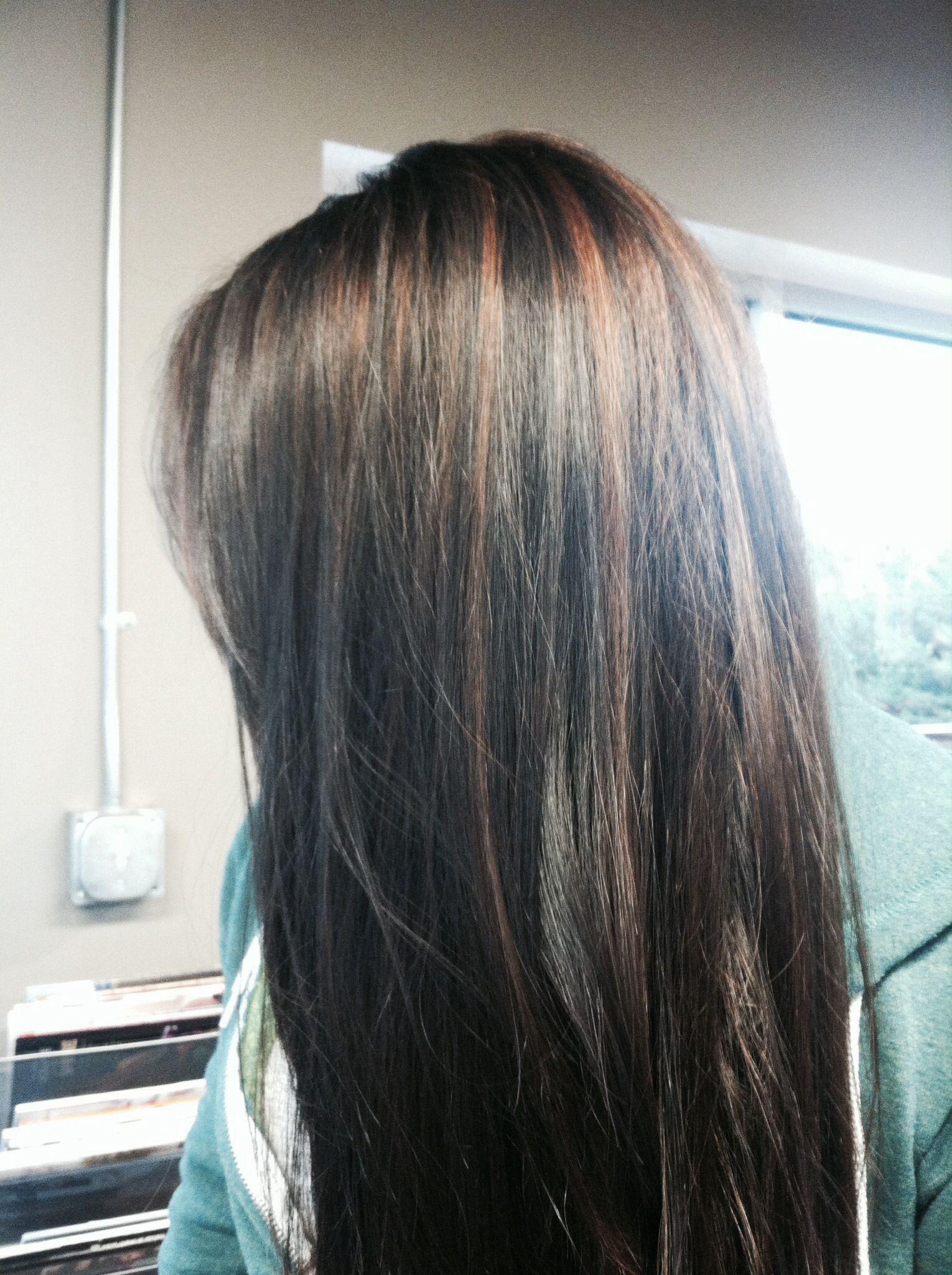 Cinnamon brown highlights with dark brown/black hair ...