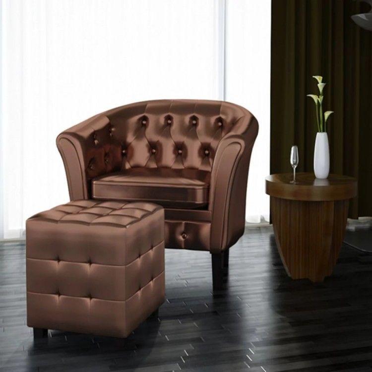 Tufted Sofa Tub Armchairs Footstool Set Brown Leather Upholstered Seat Vintage 129 00end Leather Tub Chairs Upholstered Seating Living Room Office Furniture