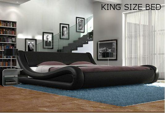 Black White Designer Double King Size Bed Frame and with Memory Foam ...