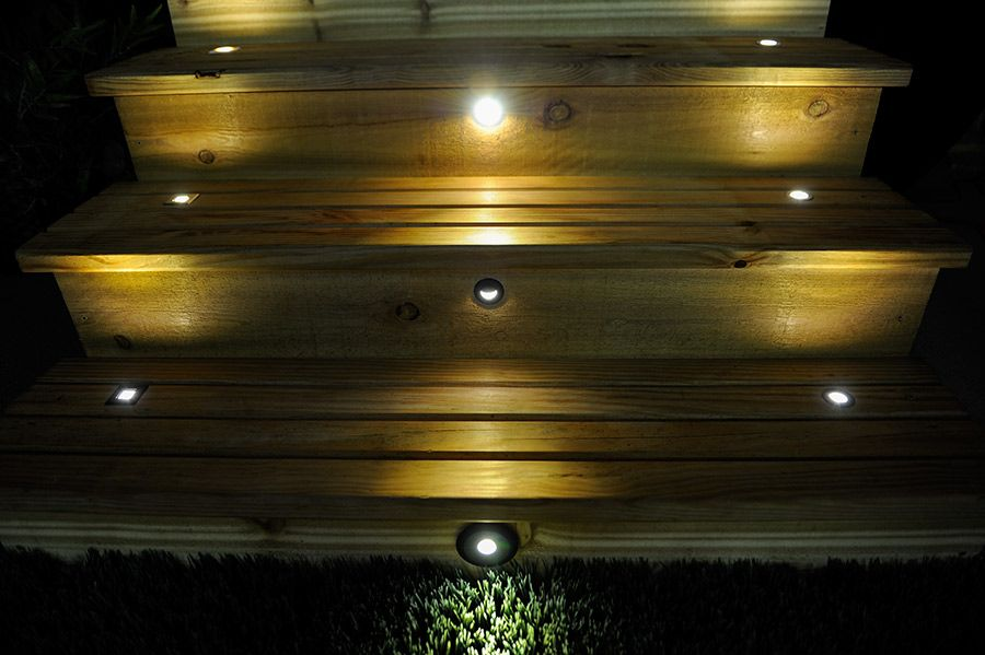 Led Step Lights Frosted 40mm Plastic Trimmed Mini Round Deck Accent Light