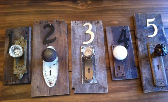 Unique Table Numbers Made Out Of Antique Finds Wedding Diy Rustic Vintage Photo 5