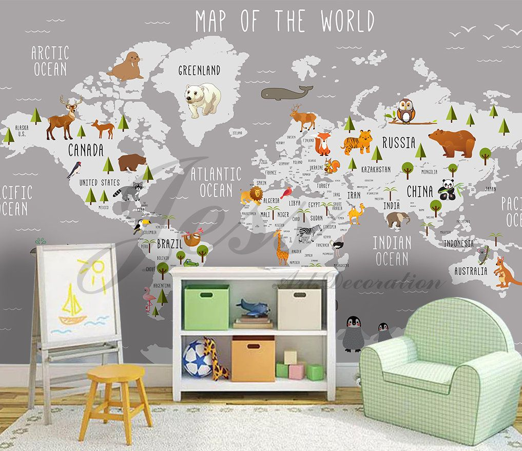 3d Nursery Kids Room Animal World Map Removable Wallpaper Etsy Kids Bedroom Wall Decor Kids World Map Kids Bedroom Walls