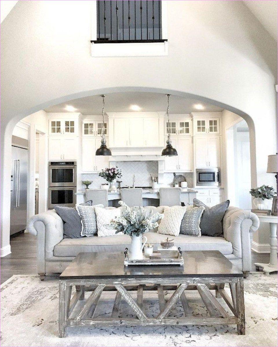 Farmhouse Decorating Open Kitchen To Living Area 49